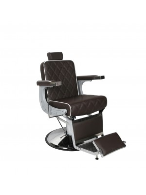 Salon Fit - Chrysler Barbers Chair - Brown With White Piping