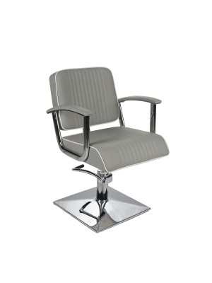 Salon Fit - Madison Styling Chair - Grey With White Piping